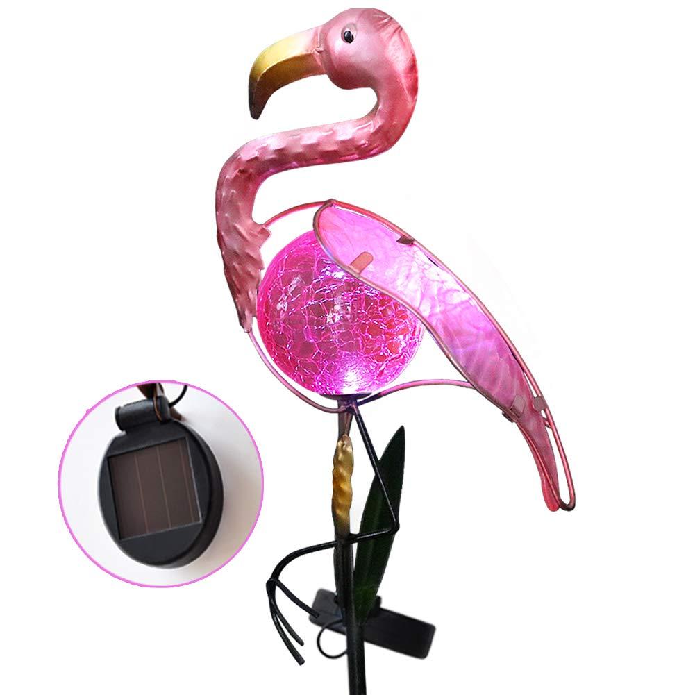 Bright Zeal 14'' Tall Metal Pink Flamingo Garden Decor Solar Lights - LED Solar Stake Lights Garden Decorations - Solar Flamingo Lights Outdoor Decorative Stake - Solar Pink Flamingo Yard Ornaments
