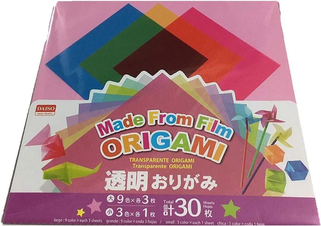 30 Sheets Origami Paper Made From Poly Transparent by Daiso