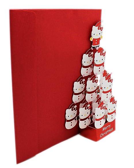 Hello Kitty Christmas Tree.Sanrio S Hello Kitty Stacked Snowmen Christmas Tree W Envelope