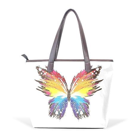 COOSUN Resumen de la mariposa patrones grandes coloridos de mango de cuero Bolsa de hombro bolsa