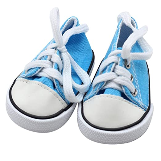 2 Pair of Doll Lace Up Canvas Sneakers Shoes for 18/'/' AG American Doll Doll