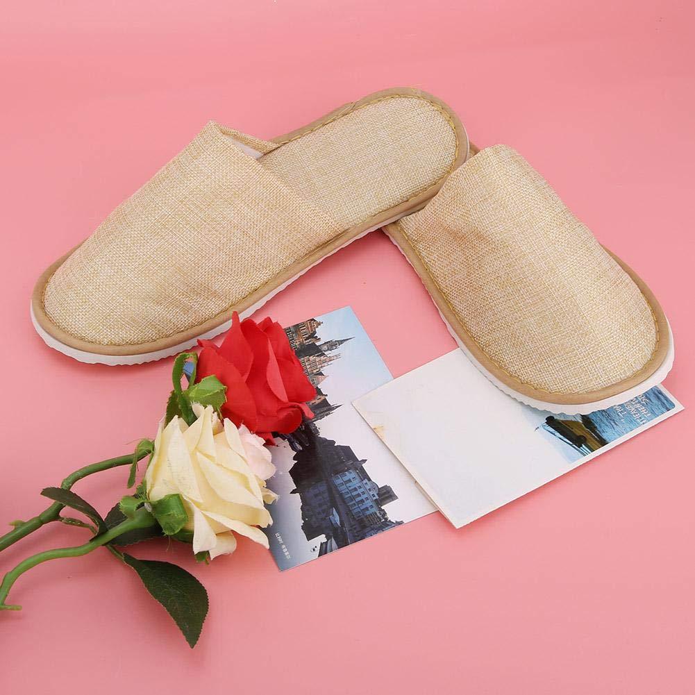 Hotel o Uso Commerciale casa Pantofole Spa 10 Paia di Cotone Lino Chiuso monouso Pantofole comode da Interno per Uomo e Donna Giallo