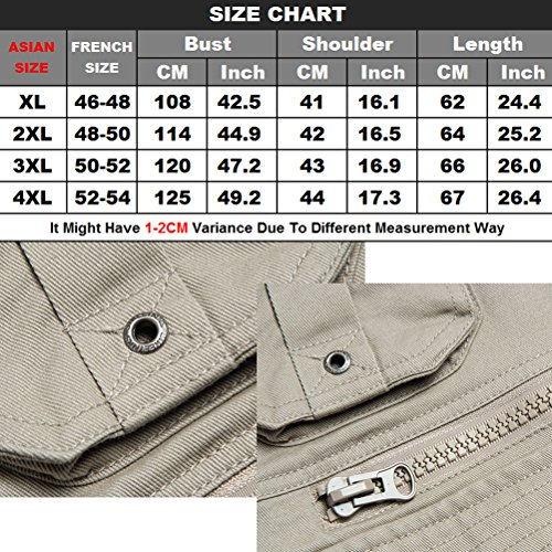 Photography Vest Size Hombre deportiva Fishing Sportswear Traveling Chalecos pocketed 5XL Zipper Khaki Mens Camping Ropa XL Multi Outdoor Zhhlaixing Fg7OW1qnHg