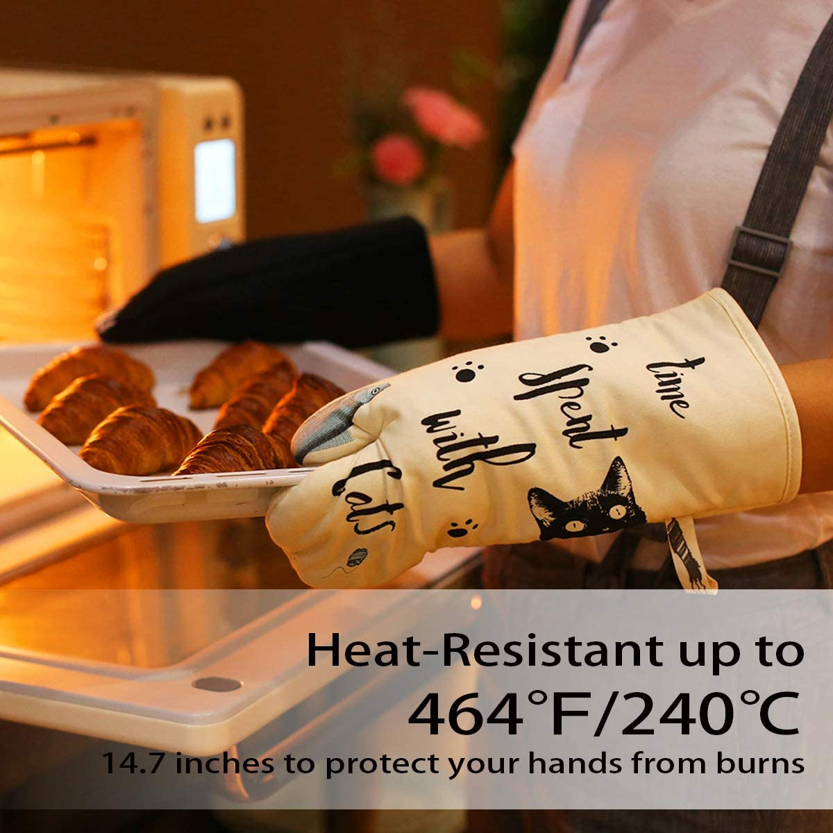 Warome 6Pcs Heat Resistant up to 464 /°F Thick Cotton Kitchen Oven Mitts,Pot Holders /& Kitchen Towels,Perfect for Kitchen,Baking BBQ Cooking