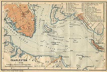 Vintage South Carolina Map.Amazon Com Charleston Antique Town City Harbor Plan South