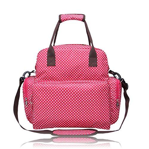 BOSHIHO® Todo en Uno Bolso de maternidad de lunares Viaje Bolsa De Pañales Cambiador Mommy Bolsa negro negro Talla:13.38 * 4.72 * 13.38 inch ( L * W * H ) rosso