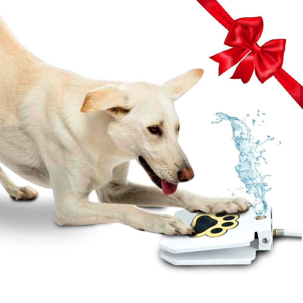 Outdoor Dog Drinking Water Fountain Step On - Upgraded 2019 Easy Paw Activated Drinking Pet Dispenser, Fresh Water, Sturdy, Easy to Use + Bonus by TrioGato