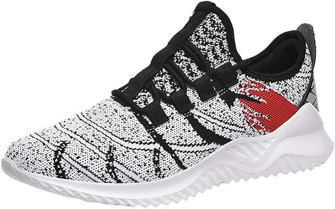 RYTEJFES Zapatilla de Deporte Casuales para Hombres Zapatillas De Transpirables con Cordones Zapatos Deportivos con Malla De Tejido Volador para Hombres Zapatos De Correr con Fondo Suave: Amazon.es: Hogar