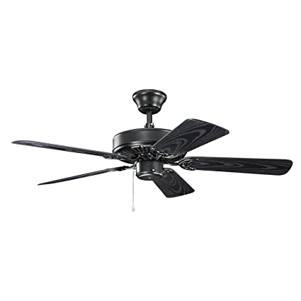 Kichler 414sbk basics patio 42in damp rated ceiling fan satin black kichler 414sbk basics patio 42in damp rated ceiling fan satin black finish with satin black mozeypictures Image collections