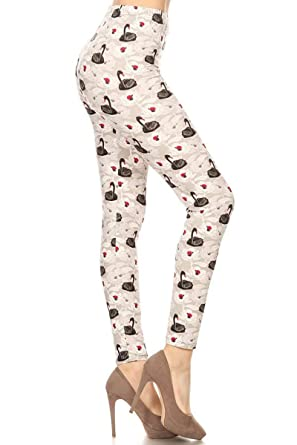 Women's Clothing Honest Womens Heart Love Printed Leggings Pink Red Hearts Buttery Soft One Size Os 2-12 Without Return Clothing, Shoes & Accessories