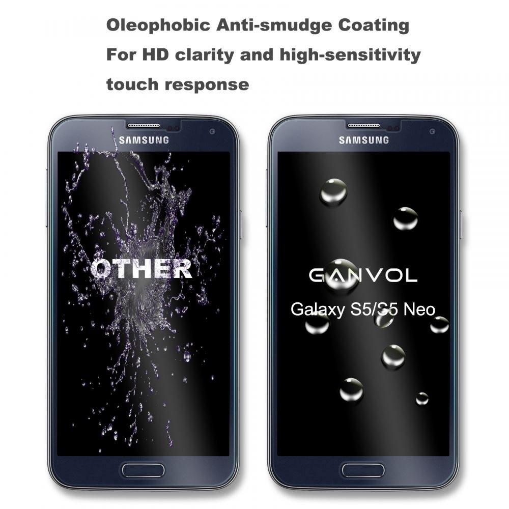 Ganvol (Pack di 2) Vidrio Templado Film Protector de Pantalla Membrana para Samsung Galaxy S5 / S5 Neo / S5 Duos / S5 Dual Sim: Amazon.es: Electrónica