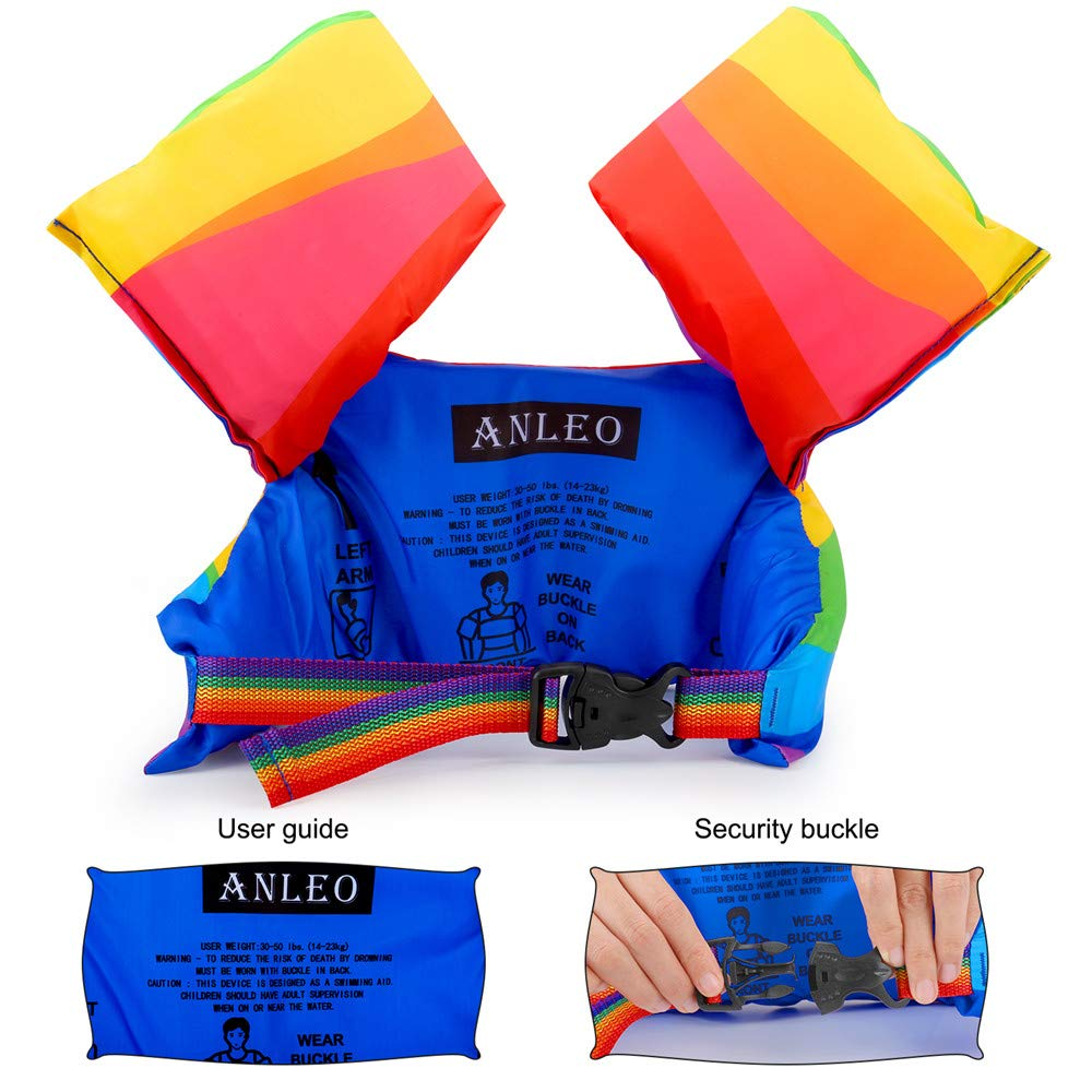 Summer Learn-to-Swim Aid Jacket for Children Weighing 30-50lbs Anleo Kids Swim Float Vest with Arm Wings