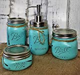 4 Piece Mason Jar Bathroom Organization Set, Painted Mason Jar Set, Mason Jars Soap Dispenser, Bathroom Accessories, Available in 20 Colors