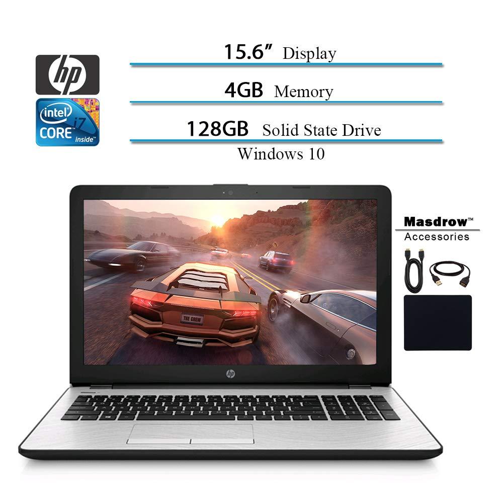 HP 15.6 HD 2019 Laptop Computer Notebook, Intel i3-7100U 2.40GHz, 4GB RAM, 128GB SSD, WiFi, Bluetooth, Windows 10 W Masdrow Accessories