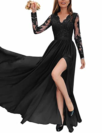 Topashe Womens Sequins Lace Appliques Long Sleeve Split Chiffon Evening Gown Bridesmaid DressUS2