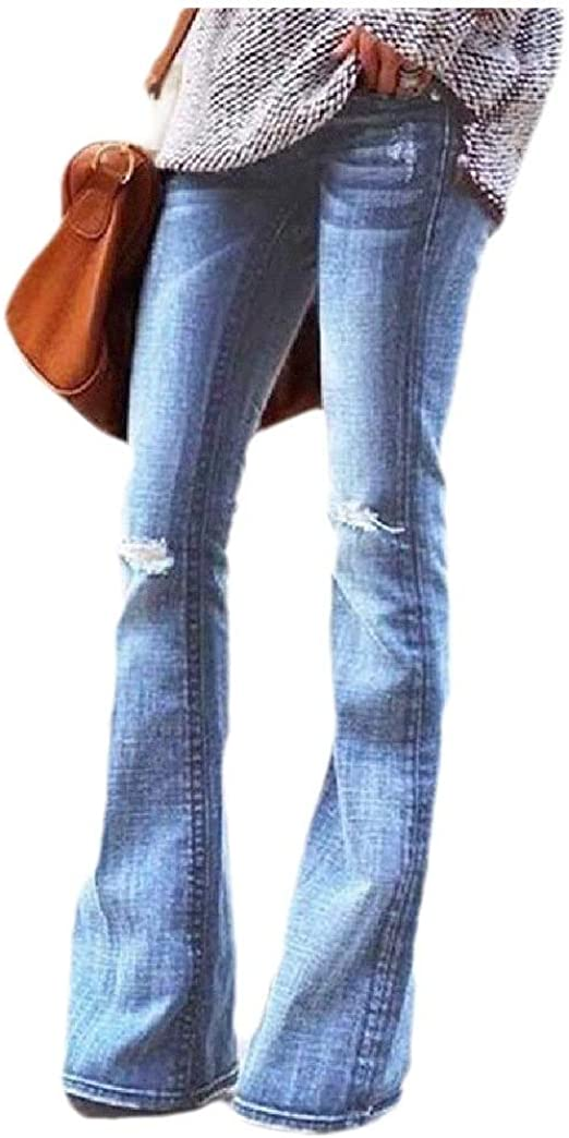 AngelSpace Womens Skinny Slim Washed Slim Cropped Flare Faded Ripped-Holes Jeans Trousers