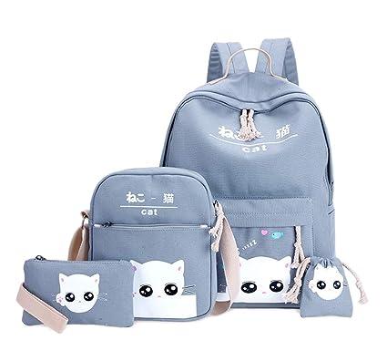 Weilong Teens School Backpack Set Canvas Girls School Bags, Bookbags Set of 5 (Cat
