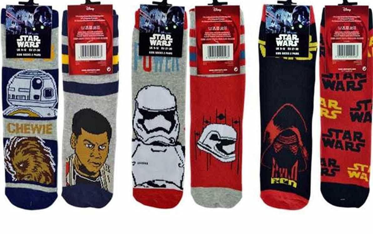6 Pairs Disney Star Wars Children's Boys Official Patterned Socks 9260-2-A