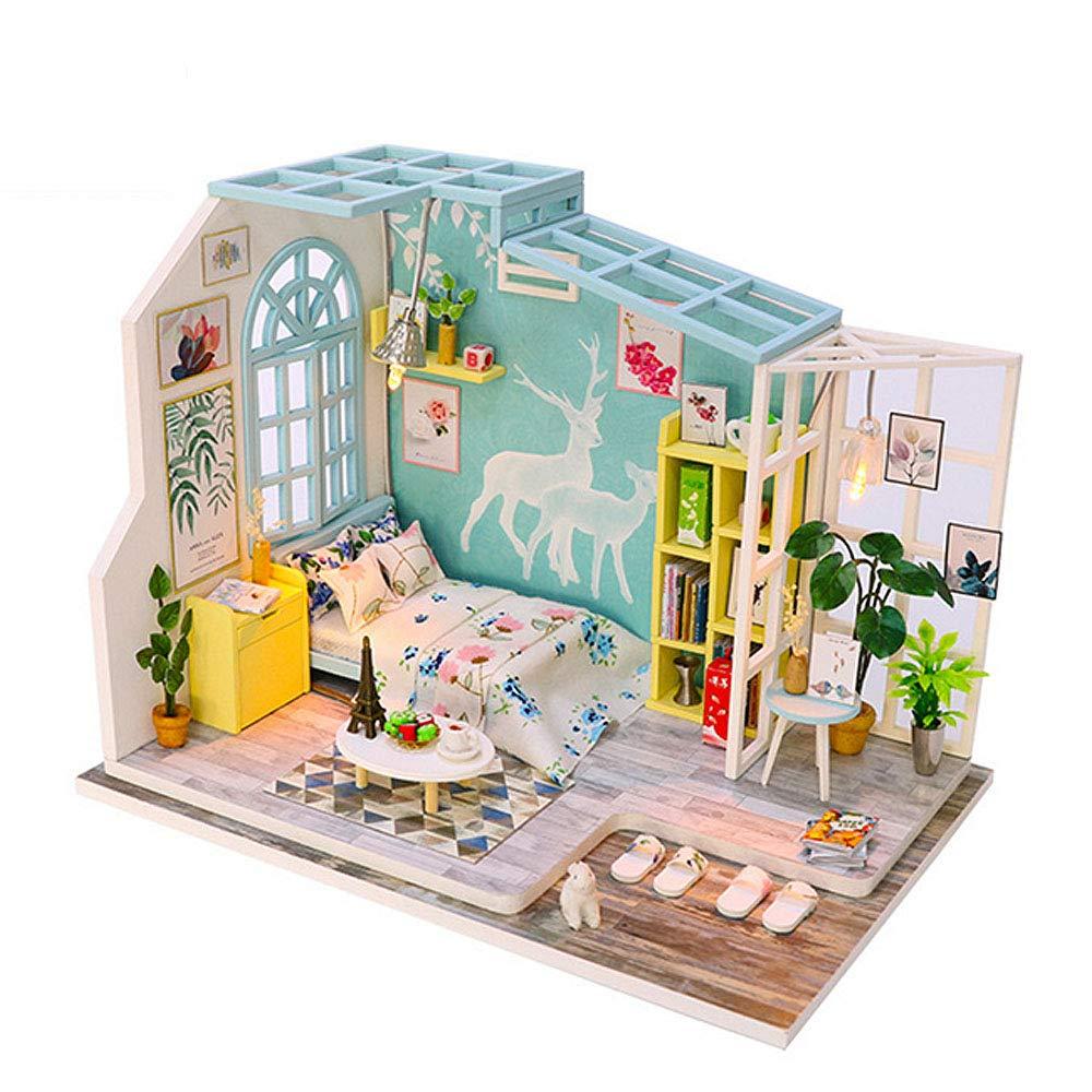 AHXMA Maison De Poupée Miniature DIY Dollhouse avec Meubles en Bois Maison Jouets pour Enfants Temps De Vacances