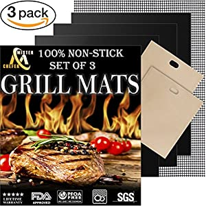 Grill Mat Set of 3 - Professional Non-Stick Grill Mats for BBQ Grilling and Baking - Heavy Duty Best for Cooking on Charcoal, Gas, Oven, Smoker, Electric Grills - Reusable and Easy to Clean