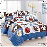 Golden Linens Full Size 3 Pieces Kids Bedspread Quilts Teens Boys Printed Bedding Coverlet Sport American Football Basketball Baseball Multi Color Light Blue, Orange Light Brown #Full 16-01