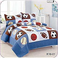 Golden Linens Full Size 3 Pieces Kids Bedspread Quilts for Teens Boys Printed Bedding Coverlet Sport American Football Basketball Baseball Multi color Light blue, Orange Light Brown #Full 16-01