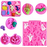 Rainmae 6 Pcs Halloween Cake Fondant Molds, Halloween Party Cupcake Topper Decorating Tools, Silicone Chocolate Candy…