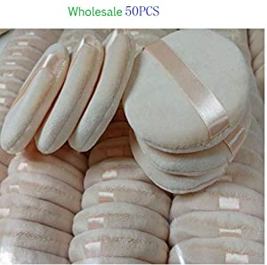 Wholesale 8cm 3.15inch Round Ribbon Cotton Soft Loose Powder Puffs Sponge For Face Makeup Cosmetic Foundation Facial Dry Loose Beauty Tool Blender(50PCS)