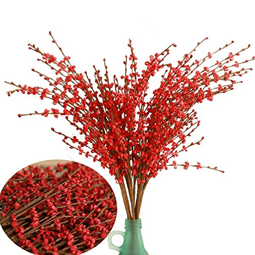 Artificial Flowers Fake Flower 10 Pieces Artificial Winter Jasmine Flowers for Wedding Bouquet Bride Holding Garlands Vine DIY Floral Art Plant Wedding Home Office Party Yard Decoration, Red 29""