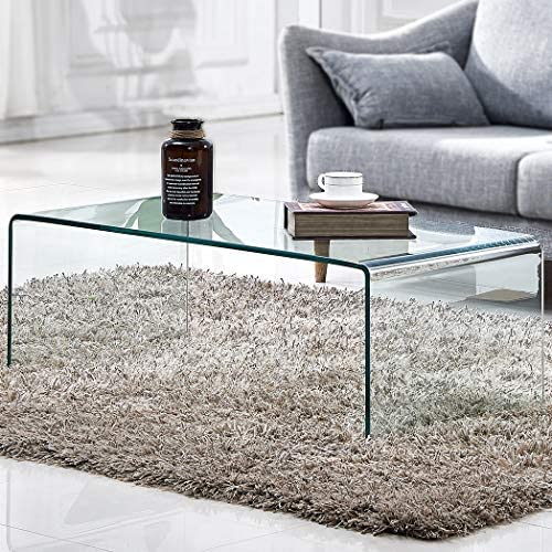 Tempered Glass Coffee Table,Living Room Clear Cocktail Table 39.4×19.7×13.8