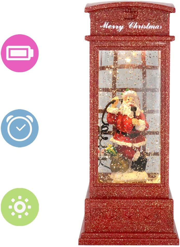 Eldnacele Christmas Snow Globe Lantern Phone Booth, Swirling Water Glittering Battery Operated Festicval Ornament with Timer for Christmas Tabletop Centerpiece Home Decoration(Phone Booth)