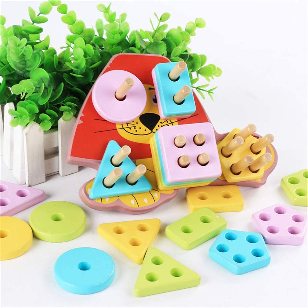 木製 教育的 子供用 多機能 ビーズ 宝箱 ブシンダ 赤ちゃん 8 in 1 動物 ビーズ周り 子供 パズル 玩具 1~4歳のお子様用