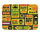 Minicoso Doormat Outer Space Decor Warning Ufo Signs with Alien Faces Heads Galactic Paranormal Activity Design Yellow