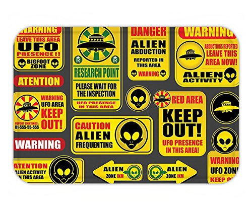 Minicoso Doormat Outer Space Decor Warning Ufo Signs with Alien Faces Heads Galactic Paranormal Activity Design Yellow by Minicoso