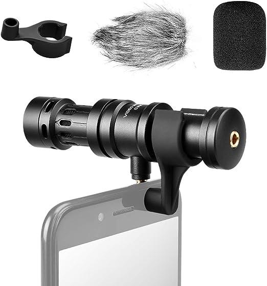 comica CVM-VS08 - Micrófono de Condensador de cardioide direccional para Smartphone iOS y Android, Carcasa de Aluminio metálico con Amortiguador de Viento: Amazon.es: Jardín