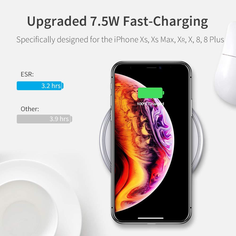 nero ricarica rapida per Galaxy Note 9//S9//S9/Plus//S8//Note 8//S7//S7/Edge Esr caricabatterie wireless, per iPhone XS//XS max//XR//x//iPhone 8//8/Plus 10/W metal Frame