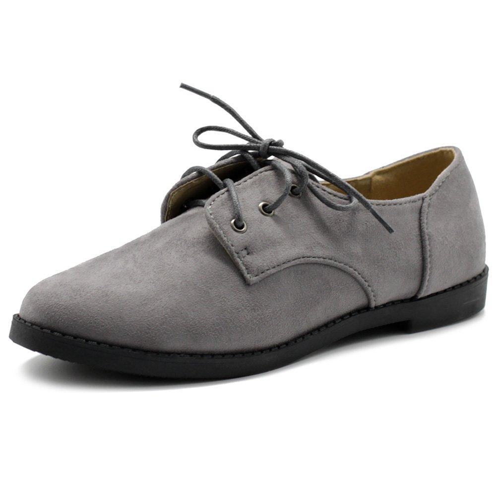 Ollio Women Classic Flat Shoe Lace Up Faux Suede Oxford ZM2910(7 B(M) US, Grey)