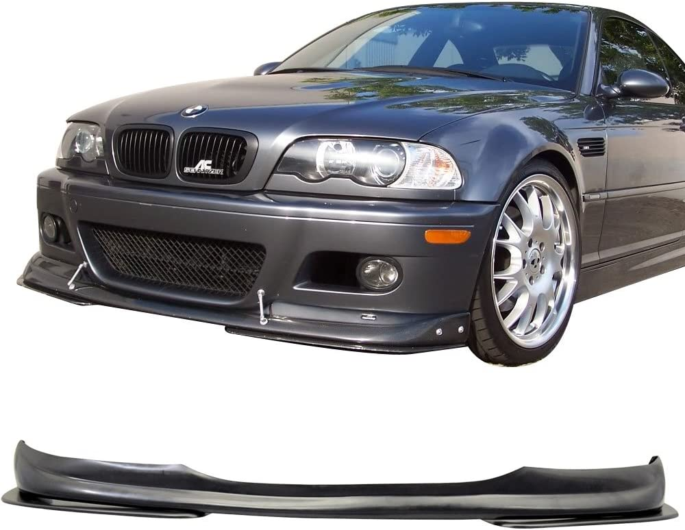 Ac-s Style PU Black Front Lip Spoiler Splitter by IKON MOTORSPORTS Front Bumper Lip Compatible With 2001-2006 BMW E46 M3