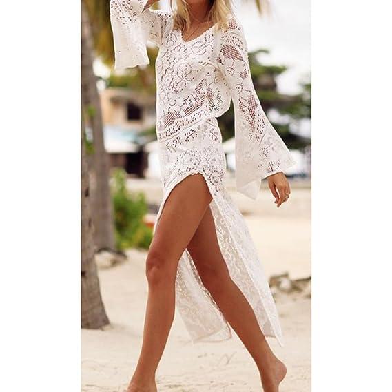 0a62430a4140 junkai Copricostume Mare Donna, Costume da Bagno a Maglia Kimono Tunic  Shirt Maglietta Uncinetto con Nappe Camicetta Kimono Top Vestito per Bikini  Spiaggia ...