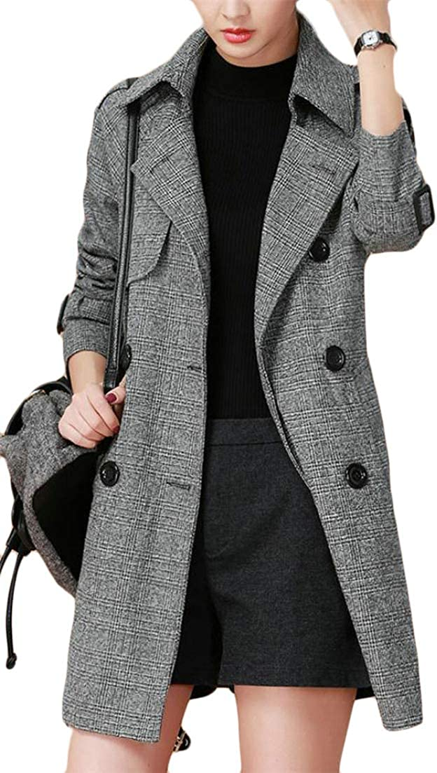 JSY Mens Outerwear Double-Breasted Slim Casual Long Trench Coats