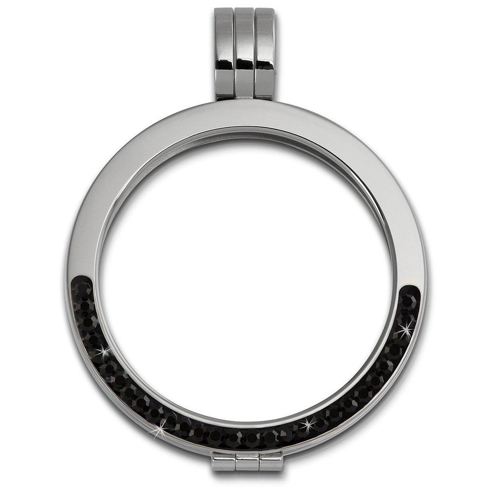 Amello bijoux en acier inoxydable - Amello pendentif en acier inoxydable - Coin Medaillion Coin Keeper couleur acier avec zircon noir - pendentif pour colliers - ESC002S