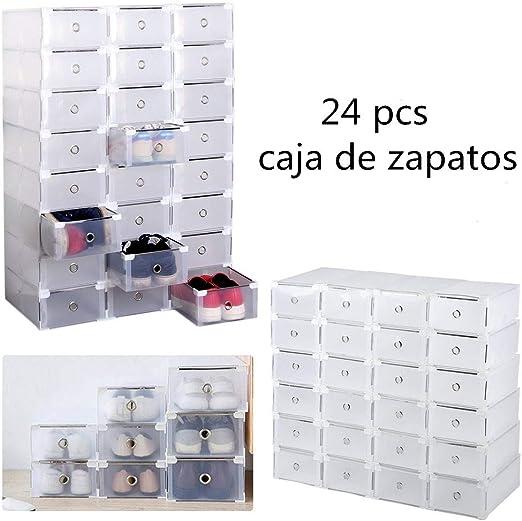 BFHCVDF 24 pcs Cajas de Zapatos de plástico Plegable Zapato Cajas ...