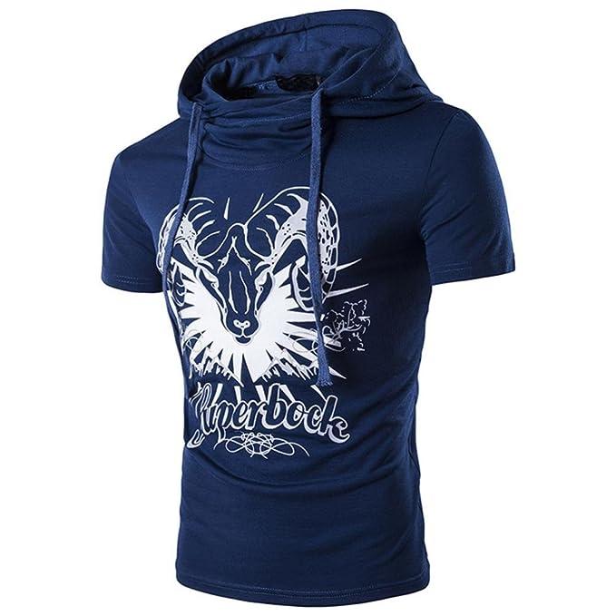 Sannysis Hombre Camisetas de Manga Cortas con Capucha Sudadera Fashion Hombres Camiseta Sudaderas con Capucha Casual Deporte Fitness T-Shirt Camisetas con ...