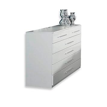 Roller Kommode Imposa Weiß Hochglanz 6 Schubkästen Amazonde