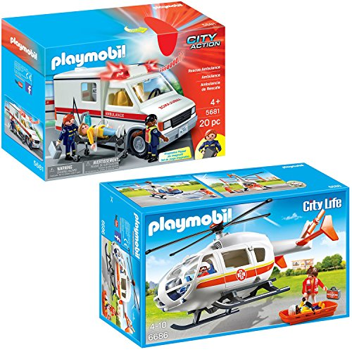 Playmobil City Action Playset Bundle with Rescue Ambulance and Emergency Medical Helicopter