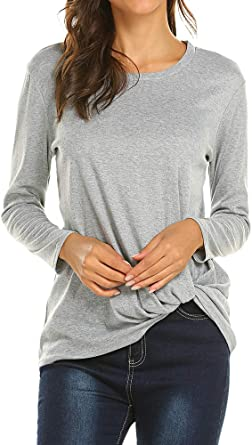 Poetsky Womens Twist Knot Front Long Sleeve Shirt Solid Casual Blouse Top