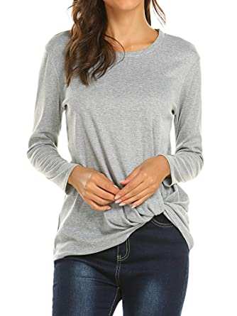 52be1924ff Poetsky Women's Long Sleeve Shirt Casual Twist Knot Front Pullover Blouse  Tops Light Grey, ...