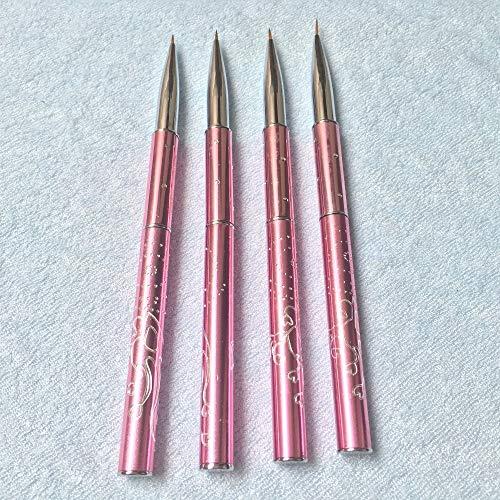 Renovatio Nails - 4Pcs/Set Pink Nail Art Lines 0000#000#00#0# On Sale Pure Sable Brush Nail Art Liner Brush Paint Brush 100% Kolinsky -