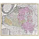 MAP HOMANN 1747 BELGIUM LUXEMBOURG OLD LARGE POSTER PRINT PAM0934