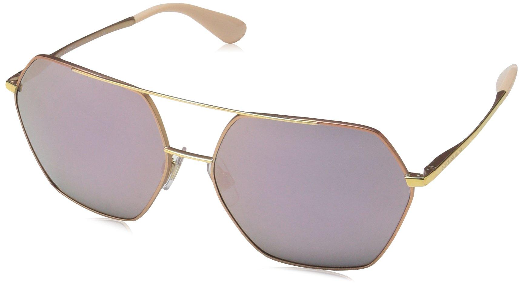 Dolce & Gabbana Women's Metal Woman Non-Polarized Iridium Square Sunglasses, Matte Pink Gold, 59.2 mm